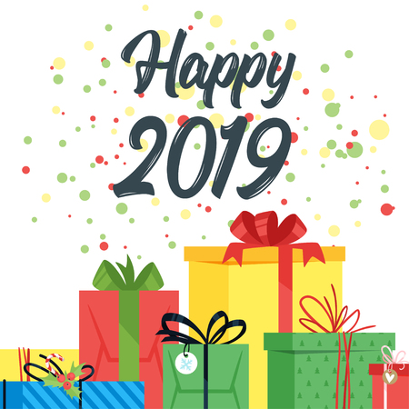 2019 New Year and Christmas greeting card background. Vector cartoon holiday design with present. White background. Vettoriali