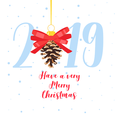 2019 New Year and Christmas greeting card background. Vector cartoon holiday design with Xmas tree toy. Good wishes. White background. Vettoriali