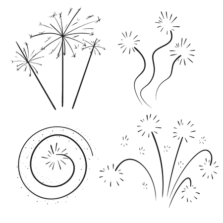 Hand drawn set of fireworks. Curly swishes, swashes, swoops. Doodle swirl. Isolated vector illustration on white background. Vettoriali