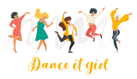 Dancing woman isolated on white background. Group of dancers enjoy party. Cute female characters in modern clothes. Minimalism design with people silhouettes. Dance it girl - text.