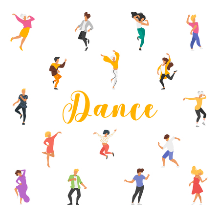 Dance poster with dancing people on white background. Square composition. Ilustração