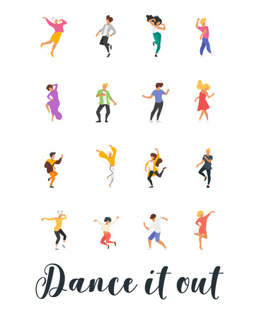 Dance poster with dancing people on white background. Vertical composition.