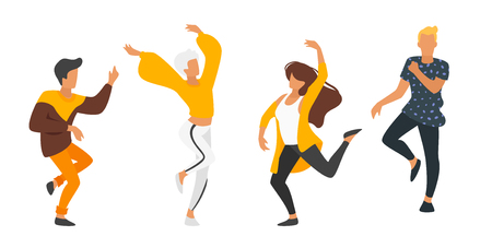 Dancing people - man and woman. Silhouette characters in dance pose enjoy party. Isolated on white background. Modern performer. Horizontal banner.