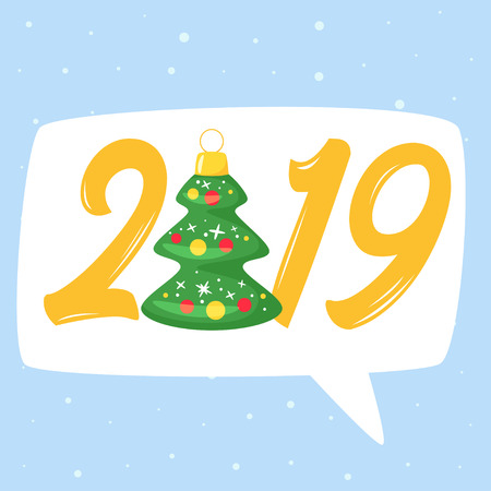 2019 New Year and Christmas greeting card background. Vector cartoon holiday design with Xmas tree toy. Blue background with speech bubble.
