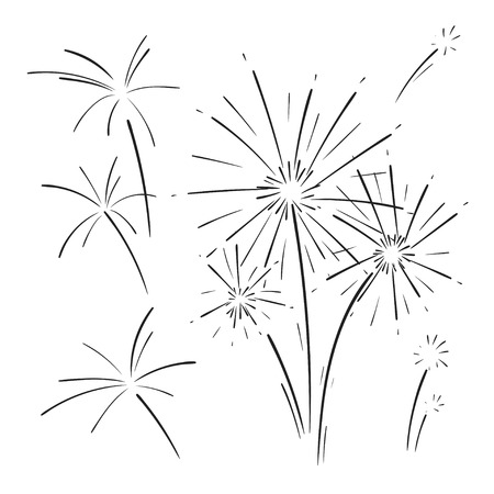 Hand drawn set of fireworks. Curly swishes, swashes, swoops. Doodle swirl. Isolated vector illustration on white background. Ilustração