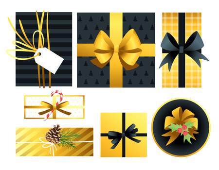 Holiday Christmas and New Year presents set. Cartoon colorful gift. Black and gold color. Ilustração
