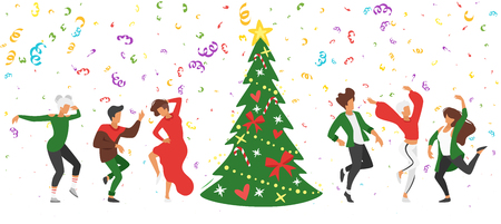 Dancing people - man and woman. Silhouette characters in dance pose enjoy New Year party. Isolated on white background. Modern performer. Christmas tree and confetti.