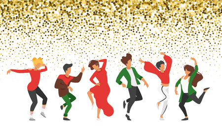 Dancing people - man and woman. Silhouette characters in dance pose enjoy Christmas and New Year party. Isolated on white background. Modern performer. Golden glitter effect at the top of illustration Vettoriali