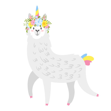 Cute lama. Alpaca animal with unicorn horn and flower wreath. Vector illustration, isolated on white background. Design for poster, sticker or t-shirt. Ilustracja