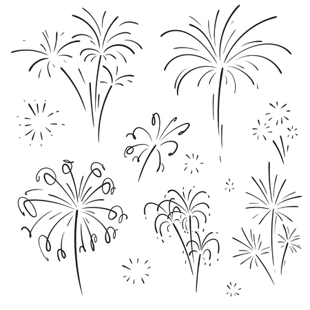 Hand drawn set of fireworks. Curly swishes, swashes, swoops. Doodle swirl. Isolated vector illustration on white background. Illustration