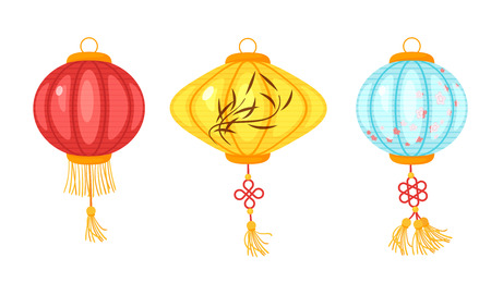 Chinese paper colorful lanterns isolated on white background.