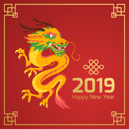 Chinese 2019 New Year banner or card with yellow dragon character on red background with ornamental frame. Vector illustration. Square composition.
