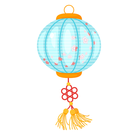 Chinese blue color paper lantern with flowers isolated on white background. Vector illustration