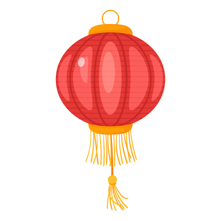 Chinese red color paper lantern isolated on white background. Vector illustration