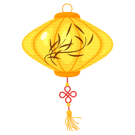 Chinese yellow color paper lantern with bamboo leaves isolated on white background. Vector illustration Vettoriali