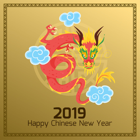 Chinese 2019 New Year banner or card with red traditional Asian dragon character and clouds. Golden background. Vector illustration. Square composition.