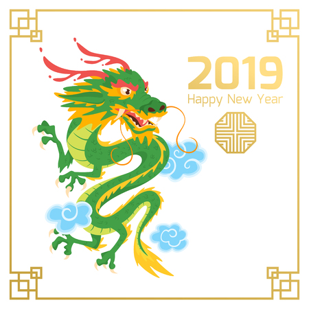 Chinese 2019 New Year banner or card with green traditional Asian dragon character and clouds. White background. Vector illustration. Square composition.