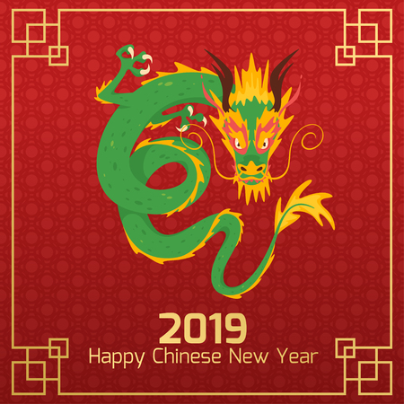 Chinese 2019 New Year banner or card with traditional dragon character. Vector illustration on red ornament background. Square composition. Vettoriali