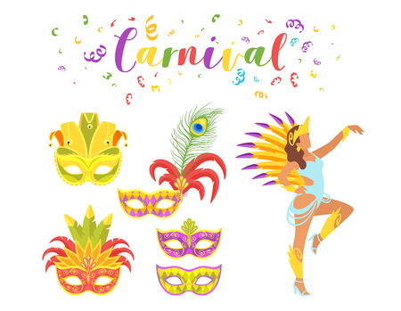 Carnival festive set of masquerade mask and silhouette of woman dancer. Vector illustration on white background. Vettoriali