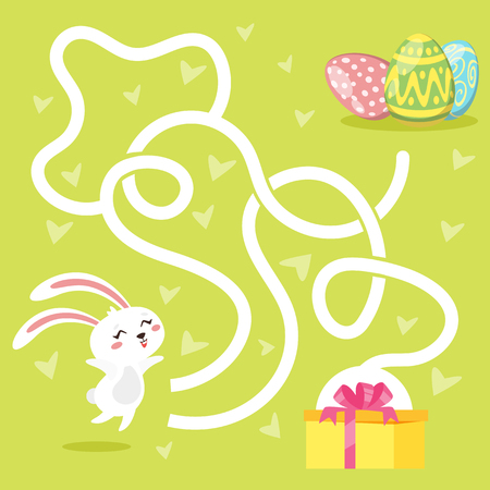 Vector cartoon style illustration of kids Easter board game - maze, with holiday symbols - eggs and bunny. Template for print.
