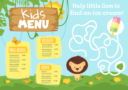 Kids food menu design template with cute character - lion on jungle rainforest background. Children education board game or maze.