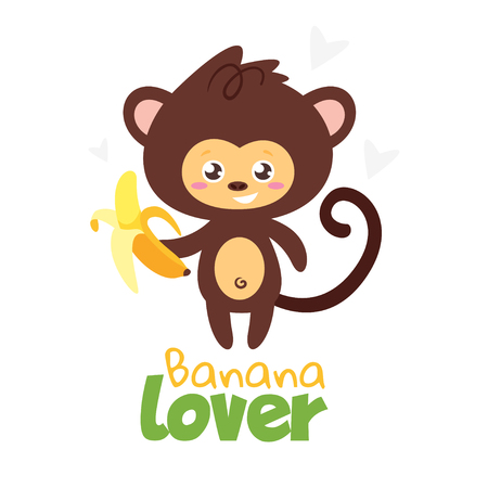 Jungle animal t shirt design template with monkey holding banana in hand. Vector illustration. Isolated on white background.