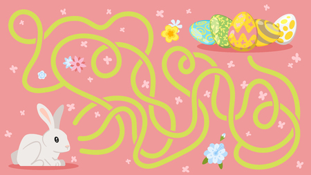 Vector cartoon style illustration of kids Easter board game - maze, with holiday symbols - bunny and eggs. Template for print.