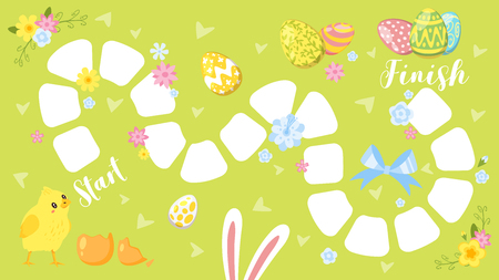 Vector cartoon style illustration of kids Easter board game with holiday symbols - little chicken and bunny ears. Template for print.