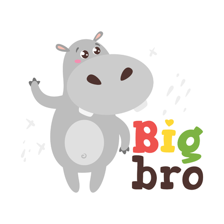 Jungle animal t shirt design template with cute hippo. Vector illustration. Isolated on white background. Big bro text.