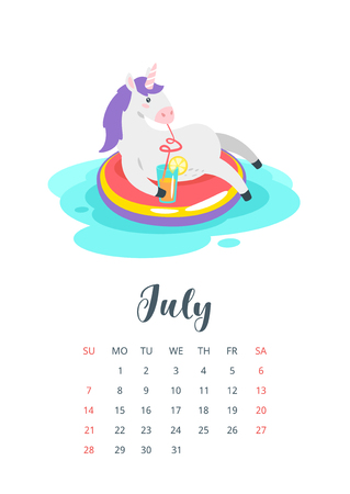 July 2019 calendar page. Fairytale animal lying on inflatable swim ring circle and drink fresh cocktail in summer. Vector illustration. Vettoriali
