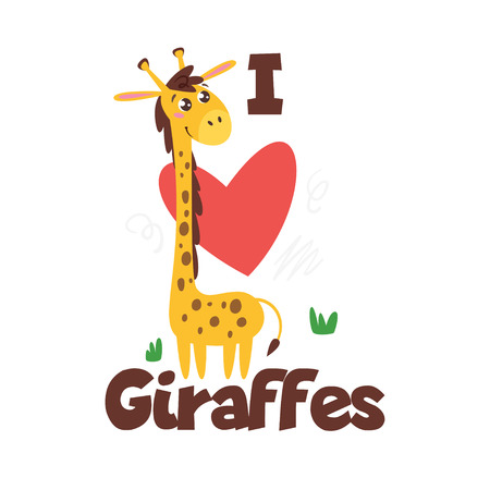 Jungle animal t shirt design template with giraffe. Vector illustration. Isolated on white background.