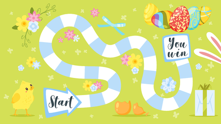 Vector cartoon style illustration of kids Easter board game with holiday symbols - little chicken and eggs. Template for print.