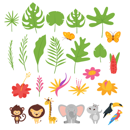 Jungle leaves, flowers and animals nursery set. Vector simple icons.