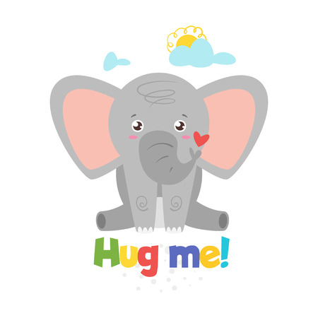 Jungle animal t shirt design template with elephant. Vector illustration. Isolated on white background. Hug me text.
