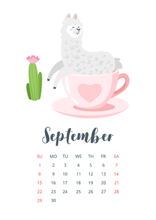 September 2019 calendar page. Cute lama. Alpaca animal sitting in pink cup with heart. Vector illustration, isolated on white background.