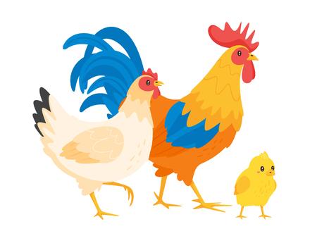 Familia de pollos: gallina, gallo y pollito. Ilustración de vector aislado sobre fondo blanco.