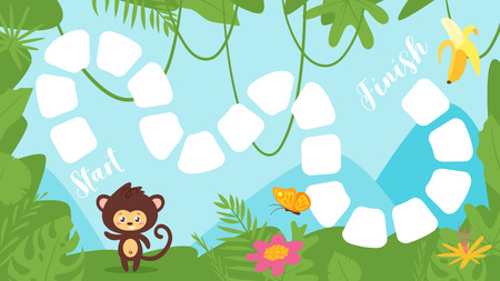 Vector cartoon style illustration of kids tropic jungle board game with cute wild animal - little monkey on rainforest background. Template for print. Vettoriali