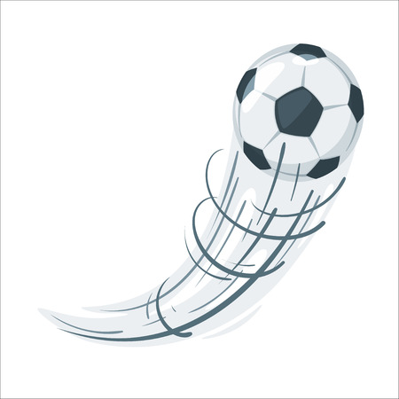 Soccer ball in action. Cartoon style vector illustration design element. Football icon with speed lines.