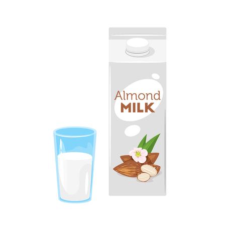 Paquet de papier végétarien de lait d'amande avec verre. Illustration vectorielle isolée sur fond blanc.