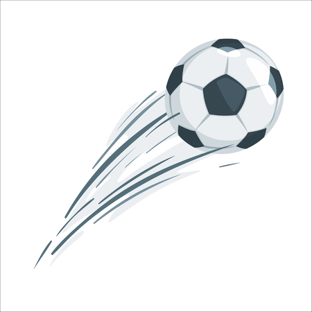 Soccer ball in action. Cartoon style vector illustration design element. Football icon with speed lines. Stockfoto - 125021414