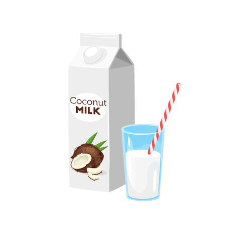 Vegetarian paper pack of coconut milk with glass and drinking straw. Vector illustration isolated on white background. Vector Illustratie