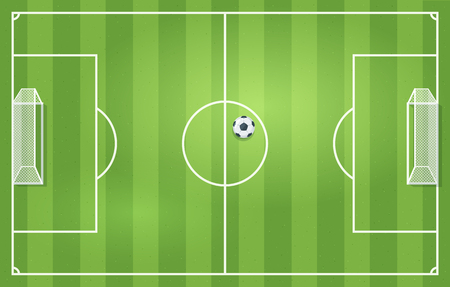 Soccer or football game grass field with leather ball. Top view. Vector illustration, cartoon style. Stock Illustratie