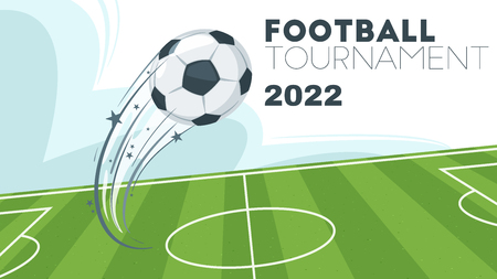 Soccer tournament design banner or template with leather ball in motion flying over the green game field. Vector illustration. Horizontal composition.
