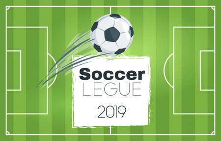 Soccer tournament design banner or template with leather ball in motion flying over the green game field. Vector illustration. Horizontal composition. Top view.