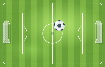 Soccer game field top view with leather football ball. Vector illustration. Stockfoto - 125021445
