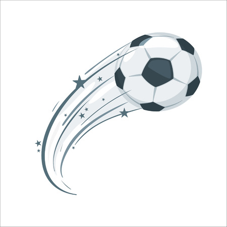 Soccer ball in action. Cartoon style vector illustration design element. Football icon with speed lines. Stockfoto - 125021446