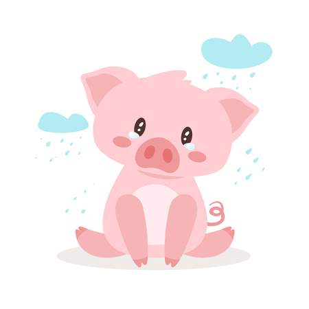 Cute crying pig. Background with clouds and rain. Template for print.