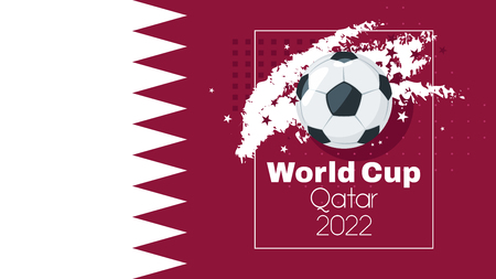 Soccer World cup 2022 tournament design banner or template with leather ball and national Qatar flag. Vector illustration. Horizontal composition. Abstract elements. Stockfoto - 125021454