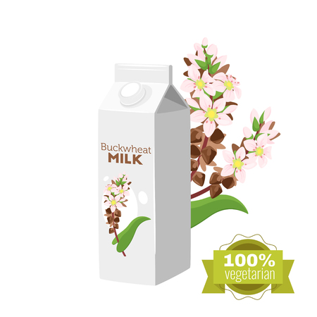 Vegetarian paper pack of buckwheat milk with brunch of cereal. Vector illustration isolated on white background. Green label. Illustration