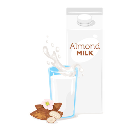 Vegetarian paper pack of almond milk with glass and kernels. Vector illustration isolated on white background.